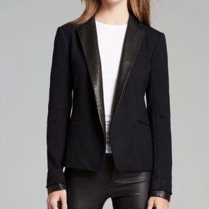 Theory Black Blazer Leandria Leather Trim